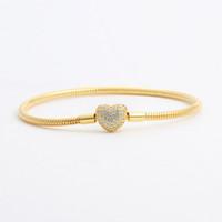 18 Karat Gelbgold plattiert CZ Diamant Herz Armbänder Original Box Set für Pandora 925 Silber Schlangenkette Armband für Frauen Hochzeit Schmuck