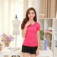 Asetat Dantel T Gömlek Kadın T -Shirt Camiseta Feminina T Shirt Kadın Yaz Tops 5XL Artı Boyutu Tişört Tee Gömlek Femme Moda Trend