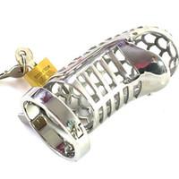 Dispositivi di castità maschile in acciaio inox cock cage per gli uomini in metallo cintura di castità pene anello giocattoli del sesso cazzo lock bondage prodotti per adulti Y190716