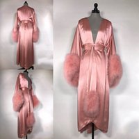 Luxury Fur Bride Sleepwear Bath Robes 2019 Women Pajama V- Ne...