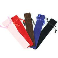5 piezas más gruesas de la caja de la pluma con la cuerda para Rollerball / Fuente / Bolígrafo Velvet Pouch Holder Bolsa de un solo lápiz