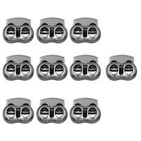 (Pack of 10) Cabo de metal feijão Locks Stopper Alternar corda Grampo 2-Buracos Cordlocks fivela de fecho com cordão de costura Fixadores - Cinza