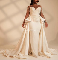 2020 African Mermaid Wedding Dresses With Over Train Sheer Neck Long Sleeve Sweep Train Garden Country Chapel Bridal Gowns Plus Size