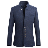 2019 Neue Chinesische Tunika Anzug Männer Stehkragen Anzüge Hohe Qualität Kostüm Dünne Klage Herren einreiher jacke Plus Größe 5XL
