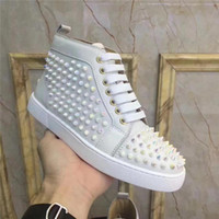 Designer Casual Chaussures Femmes Hommes Chaussures Spikes Red Bottom Oxford Dress Shoes Party Lovers de mariage véritable Sneakers en cuir tout blanc