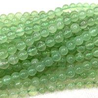 """İndirim Toptan Doğal Orijinal Temizle Yeşil Prehnit Yuvarlak Gevşek Taş Boncuktan 3-18mm Fit Takı DIY Kolye veya Bilezikler 15.5"""" 06268"""