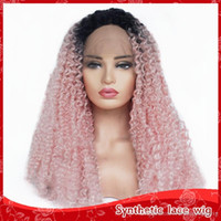 Charming Soft Long Lace Front Synthetic Wigs Pink Ombre Wig ...