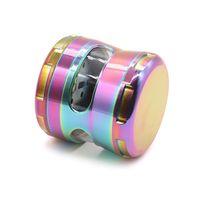 Regenbogen-Schleifmaschinen Zink-Legierung Metall Grinder mit Seitenscheibe 63mm Durchmesser 4 Teile Herb Grinders Rauchzubehör CCA12302 10pcs