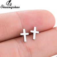 Shuangshuo Punk Korean Earrings Cross Stainless Steel Earrin...
