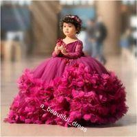 푹신한 꽃 여자 드레스 3D 꽃 V 목 긴 소매 키즈 십대 웨딩 쿡 테일 가운 FG1293에 대 한 웨딩 파티 드레스
