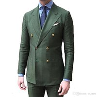 Custome Made Handsome Men Suit Wedding New Arrival Green Suit Double Breasted Slim Fit Men Blazer Party Prom Tuxedo 2 Pieces Set