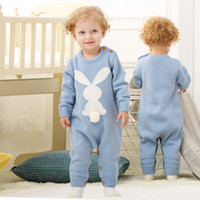Easter Rabbit Newborn Rompers Knit Baby Jumpsuits with Pom Ball Spring Fall Infant Kids Overalls Autumn Toddler Bunny Playsuit LJJA3711