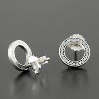 جديد حجية 925 فضة مربط القرط مع مجموعة مربع الأصلي ل باندورا تشيكوسلوفاكيا الماس النساء الأقراط الأزياء