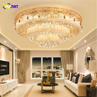 FUMAT круглый 3 слоя Кристалл K9 Stainess стали светодиодный потолочный светильник роскошный классический современный для столовой фойе спальня хрустальный шар