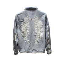 marca de moda bordados Casual homem de asa Denim Vintage jaqueta selvedge Streetwear Harajuku Punk motocicleta jean Lavados destruir
