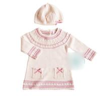INS Malha do bebê vestidos Outfits infantil crianças malha camisola vestido meninas Arcos de bolso vestido de manga longa + torção chapéu de tricô 2 pcs conjuntos Y2556