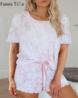 Kadın Pijama Gelecek Zaman Casual Ev Giysileri Takım Elbise Kadın Boya Baskı Yuvarlak Boyun Kısa Kollu Bölünmüş Pijama Üç Renkler SP627