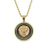testa di leone hip-hop collane rotonde del pendente per la collana di lusso animale occidentale degli uomini catene cubane dell'acciaio inossidabile i monili dell'etichetta del cane che spedice liberamente