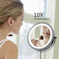 محمول LED مضاءة ماكياج مرآة 7 بوصة التكبير 10x مزدوجة جانبية 360 درجة تناوب مرآة ماكياج أداة التجميل للنساء