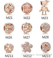 Authentic 925 sterling silver adatto perline bracciale Pandora perline in oro rosa charms per serpente europeo catena di fascino collana moda gioielli fai da te