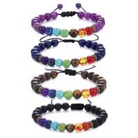 7 Chakra Naturstein Charme Armbänder Tigerauge Lapislazuli Amethyst Frosted Perlen Ketten Seil-Armband für Frauen Männer Crafts Schmuck