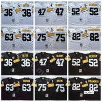 NCAA Football 75 Joe Greene Jerseys 36 Jerome Bettis 47 Mel Blount 52 Mike Webster 63 Dermontti Dawson John Stallworth Black White Vintage