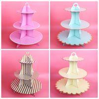 1pcs 15.3-29cm Stor Golden / Silver Cake Paper Cake Stand Cupcake Hållare För Bröllop Födelsedag Baby Shower Party Decoration
