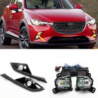 Araba OEM Tarzı Doğrudan Değiştirme LED Sis Lambası Işıkları 2016-2017 için Mazda CX-3 W / BULB + Anahtarı + Tel + Bezel / 1 Takım