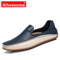 Allwesome Classic Genuine Leather Loafers Trendy Men Casual ...