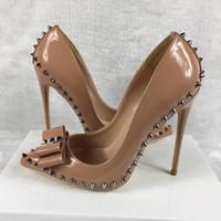rivets couleur nude rivets sharp aiguille en cuir PU talons hauts brevet exclusif de talons hauts de femmes célibataires chaussures 8cm 10cm 12cm # 10