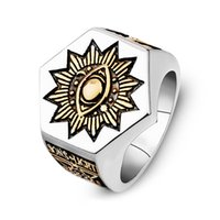 Edelstahl Alles sehende Auge Freimaurerische Insignien Siegelringe Freimaurer Sonne und Stern Auge des Horus Ringe shinning Punkschmuck für Männer