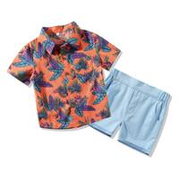Ragazzo Bambini Designer Abbigliamento 100% cotone manica corta Leaf Stampa Set da ragazzo Causal Summer Boys Casual Set T Shirt + Breve