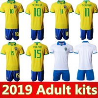 2019 Brasil home adult kit Jersey DAVID LUIZ G. JESUS P. COUTI...