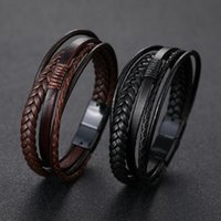 Men' s Braided Leather Bracelets Armband heren in Black ...