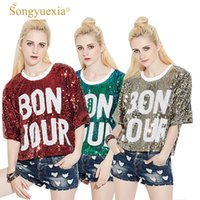 Songyuexia Lettera Paillette Easy Pullover Jacket Stage Mostra abbigliamento Short Fund 2485 Costumi Cheerleading per donna