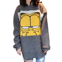 ea315a53be7 New Korean Garfield Women Sweater Cartoon Cute Loose Pullover Autumn Winter  Fashion Girl Clothes Tops Female Knit Sweater 2019