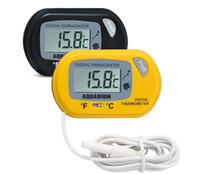 Mini Digital Fish termómetro del acuario del tanque con la batería del sensor con cable incluido en el bolso del opp el color Negro Amarillo para la opción libre SN1141 envío