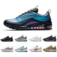 Nike air max 97 shoes Laser Fuchsia Iridescent 97 UNDEFEATED Triple white mens running shoes 97s Silver Bullet South Beach Men women sports Sneakers 36-45
