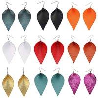 قطرة البوهيمي جلد طبيعي أقراط متعدد الألوان ورقة تعلق القرط جلدية للمرأة 2020 مجوهرات مقلدة