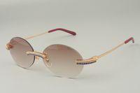 19 New A-8100903 Luxury Fashion Blue Doppia Fila Ampia Diamond Occhiali da sole, Occhiali da sole in metallo oro Temple Occhiali da sole rotondi retrò, 58-18-140mm