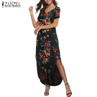 2019 лето Женщины Длинные платья макси ZANZEA дамы цветочные печати платье Сарафаны Vintage Bohemian Beach Party Vestidos Plus Размер 5XL
