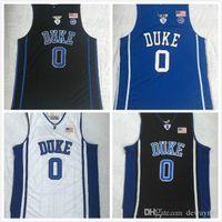NCAA Duke Blue Devils College Jerseys Kyrie 0 Tatum 스티치 블루 화이트 블랙 도매 유니폼