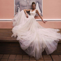 2019 Beach Wedding Dresses A Line V Neck Lace Tulle Bridal G...
