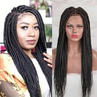 10A 학년 아프리카 계 미국인 꼰 레이스 프론트 가발 긴 검은 상자 머리 가발 내열성 저렴한 합성 땋은 머리 가발