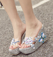 2019 ladies wedge sandals glitter pink silver butterfly slid...