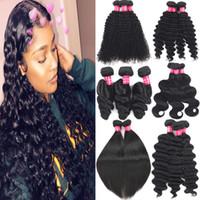 9A Brasilianische Reinheit Haarbündel Peruanische indische Malaysische menschliche Haare Gewebt Natürliche Farbe Lose Welle Wasserwelle Haarverlängerungen Doppeler Schuss