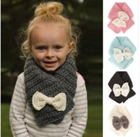 4 color kids Warm Scarf Baby Girls Bow Shawl Ring Wraps Scar...