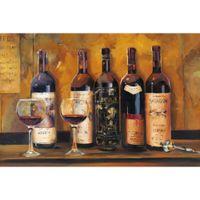 Холст искусство картины масло Cellar Reds Мэрилин Хагеман Ручная роспись натюрморт бутылки вина абстрактного искусство для столовой декора