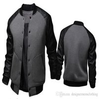 Yaka Uzun Kollu Baseballl Erkek Palto Spor Kasetli Deri Tek Breasted Erkek Dış Giyim Erkek ceketler Standı