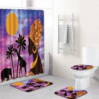 패션 섹시 흑인 여자 욕실 카펫 3D 인쇄 미끄럼 방지 바닥 매트 화장실 뚜껑 커버 목욕 샤워 커튼 4 개 종 세트 매트